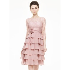A-Line/Princess Scoop Neck Knee-Length Chiffon Lace Mother of the Bride Dress With Flower(s) Cascading Ruffles