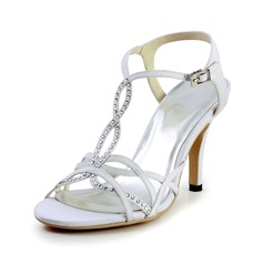 Women's Silk Like Satin Cone Heel Sandals Slingbacks With Rhinestone
