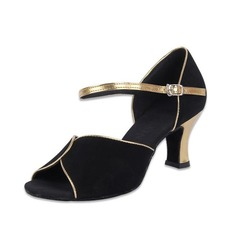 Women's Nubuck Heels Sandals Latin With Buckle Dance Shoes