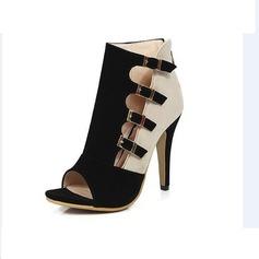 Kvinnor Mocka Stilettklack Pumps Peep Toe med Spänne skor