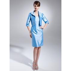 Etui-Linie Trägerlos Knielang Taft Kleid für die Brautmutter