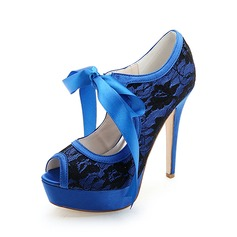 Women's Lace Stiletto Heel Peep Toe Sandals