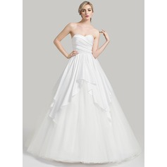 Ball-Gown Sweetheart Court Train Satin Tulle Wedding Dress With Cascading Ruffles