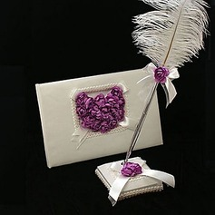 Satin Petals Guestbook/Pen Set