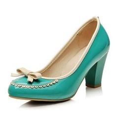 Cuero Tacón ancho Salón Cerrados con Del bowknot zapatos