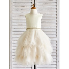 A-Line/Princess Tea-length Flower Girl Dress - Tulle Sleeveless Scoop Neck With Rhinestone