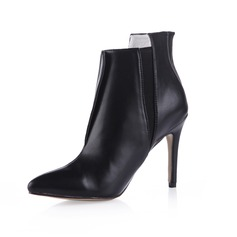 Leatherette Stiletto Heel Ankle Boots With Zipper shoes