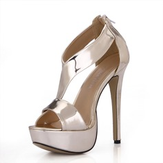 Patent Leather Stiletto Heel Peep Toe Platform Sandals With Zipper