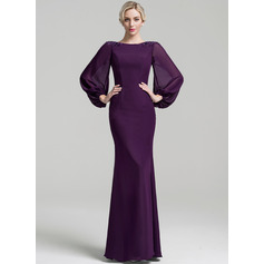 Trumpet/Mermaid Scoop Neck Floor-Length Chiffon Mother of the Bride Dress With Beading Sequins
