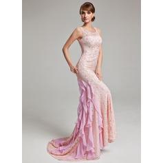 Trompete/Meerjungfrau-Linie U-Ausschnitt Sweep/Pinsel zug Spitze Abendkleid mit Perlen verziert Gestufte Rüschen