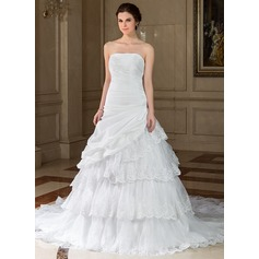 A-Line/Princess Strapless Chapel Train Taffeta Organza Wedding Dress With Lace Beading Sequins Cascading Ruffles