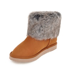 Leatherette Flat Heel Ankle Boots With Fur shoes