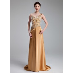 A-Line/Princess One-Shoulder Sweep Train Charmeuse Prom Dress With Beading