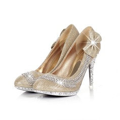 Leatherette Sparkling Glitter Stiletto Heel Pumps With Rhinestone Sparkling Glitter shoes