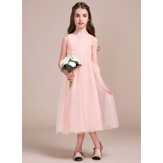 A-Line/Princess Tea-length Flower Girl Dress - Tulle Sleeveless V-neck