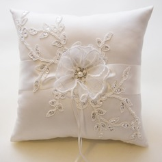 Elegant Ring Pillow in Satin With Faux Pearl/Embroidery