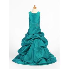 A-Linie/Princess-Linie Bodenlang Blumenmädchenkleid - Taft Ärmellos U-Ausschnitt mit Rüschen/Perlstickerei/Suchen Up Skirt