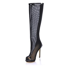 Patent Leather Stiletto Heel Peep Toe Knee High Boots With Hollow-out shoes