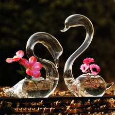 Elegant Swan Glass Vase (Set of 2)