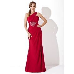 Trumpet/Mermaid One-Shoulder Watteau Train Chiffon Mother of the Bride Dress With Ruffle Beading