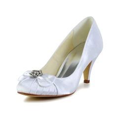 Women's Satin Cone Heel Closed Toe Pumps With Bowknot Rhinestone