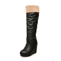 Leatherette Wedge Heel Platform Knee High Boots shoes