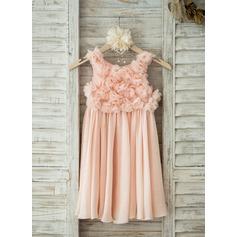 A-Line/Princess Knee-length Flower Girl Dress - Chiffon Sleeveless Scoop Neck With Flower(s)