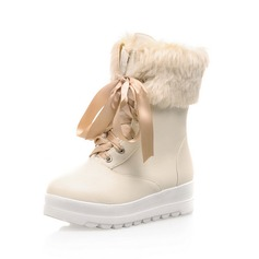 Leatherette Flat Heel Platform Closed Toe Ankle Boots Snow Boots With Feather Lace-up shoes