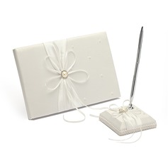"""Eternity"" Satin Faux Pearl/Rhinestones Guestbook/Pen Set"