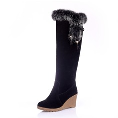 Women's Leatherette Wedge Heel Closed Toe Wedges Knee High Boots shoes