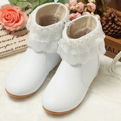 Girl's Leatherette Flat Heel Boots With Imitation Pearl Flower