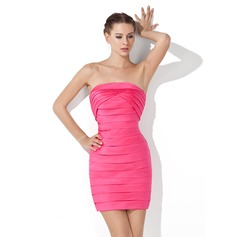 Sheath/Column Strapless Short/Mini Satin Cocktail Dress With Ruffle