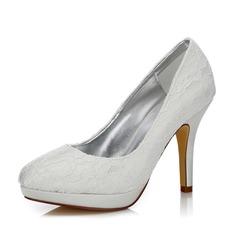 Women's Lace Satin Stiletto Heel Closed Toe Pumps Dyeable Shoes