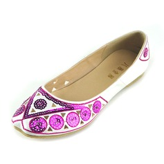 Women's Leatherette Flat Heel Flats Closed Toe With Sequin shoes