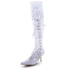 Satin Stiletto Heel Closed Toe Boots Wedding Shoes With Ribbon Tie Stitching Lace (047005049)