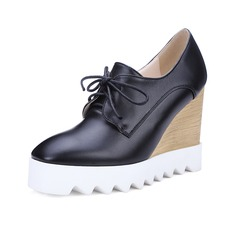 Women's Leatherette Wedge Heel Platform Closed Toe Wedges shoes