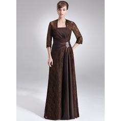 Etui-Linie Trägerlos Bodenlang Taft Spitze Kleid für die Brautmutter mit Rüschen Perlen verziert