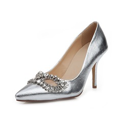 Real Leather Stiletto Heel Pumps Closed Toe With Rhinestone shoes (085050316)