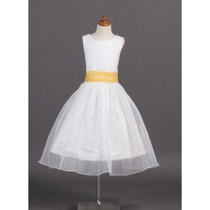 A-Line/Princess Tea-length Flower Girl Dress - Organza/Satin Sleeveless Scoop Neck With Sash