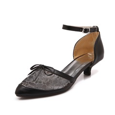 Leatherette Kitten Heel Pumps Closed Toe With Buckle shoes
