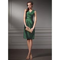 Sheath/Column V-neck Knee-Length Charmeuse Cocktail Dress With Ruffle
