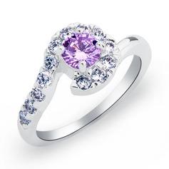 Sparking Copper/Zircon/Platinum Plated Ladies' Rings