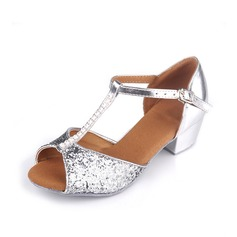 Women's Kids' Leatherette Heels Sandals Latin With T-Strap Dance Shoes
