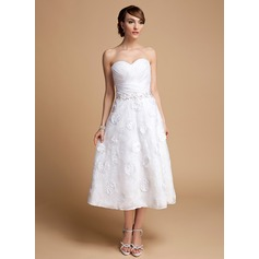 A-Line/Princess Sweetheart Tea-Length Organza Lace Wedding Dress With Ruffle Beading Flower(s) Sequins