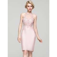 Sheath/Column Scoop Neck Knee-Length Satin Homecoming Dress With Beading Sequins