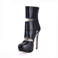 Leatherette Stiletto Heel Platform Ankle Boots shoes