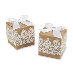 Classic Cubic Favor Boxes With Ribbons