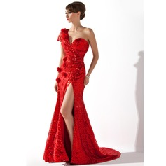 Trumpet/Mermaid One-Shoulder Court Train Sequined Evening Dress With Ruffle Flower(s) Split Front