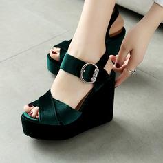 المرأة سويدي كعب ويدج صنادل مع مشبك أحذية