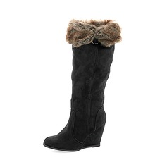 Women's Suede Wedge Heel Boots Mid-Calf Boots With Fur shoes